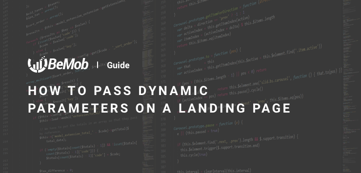How to pass dynamic parameters on a landing page
