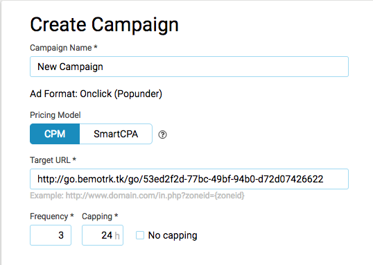 Campaign Creation with Clickadu