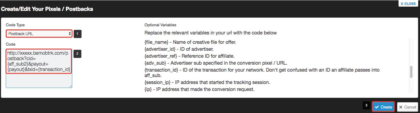 Affiliate network settings