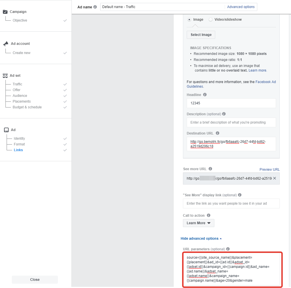 facebook bemob tracking
